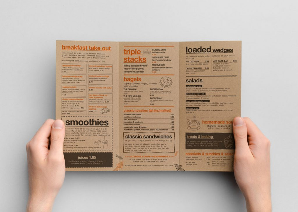 menu design for cafe